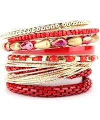 Bracelets Multiples Rouge OYS Pierres, - Cendriyon