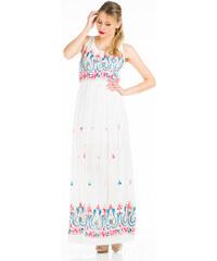 Keysha Dámské maxi šaty 16675-01-WHITE