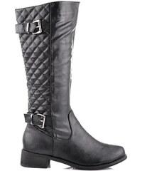 La Bella shoes Skvělé černé kozačky s jemným vzorkem