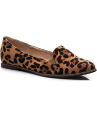 FARASION Semišové leopardí balerínky
