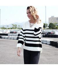 Lesara Pullover im Streifen-Look - Weiß - S