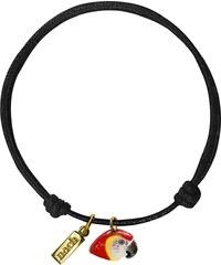 Nach Bijoux Bracelet Noir En Corde & Porcelaine - Perroquet Rouge Vif