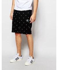 adidas Originals adidas Original - AO0551 - Shorts mit Markenkleeblatt-Muster - Schwarz
