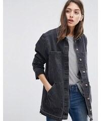 ASOS - Veste style workwear en jean à ourlet plongeant - Noir délavé - Noir