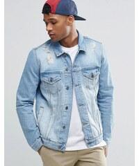 ASOS - Veste en jean à délavage moyen et déchirures - Bleu