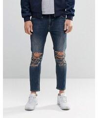 ASOS - Jean skinny court ultra déchiré aux genoux - Bleu délavé - Bleu