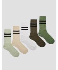 ASOS - Lot de 5 paires de chaussettes de sport - Kaki - Vert