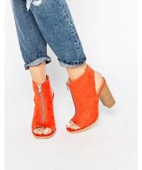 Glamorous - Peeptoe-Stiefeletten aus Wildleder in Dunkelorange - Orange