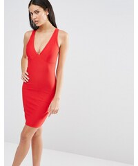 Missguided - Figurbetontes Kleid mit tiefem Dekolleté - Rot