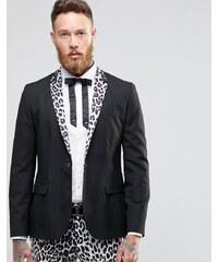 Religion - Blazer ajusté à revers léopard - Noir