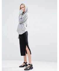 Selected - Brenda - Jupe mi-longue en jersey fendue sur les côtés - Noir