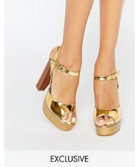 Terry de Havilland - Coco - Gold glänzende Sandalen mit Plateauabsatz - Gold