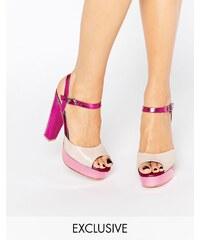 Terry de Havilland - Coco - Rosa glänzende Sandalen mit Plateau-Absatz - Rosa
