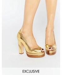 Terry de Havilland - Luna - Goldene Peeptoes mit Absatz - Gold