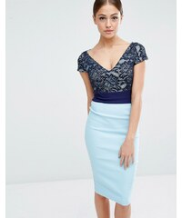 Vesper - Robe fourreau color block avec top en dentelle - Bleu