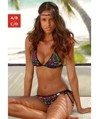 Große Größen: Triangel-Bikini, Buffalo, schwarz bedruckt, Gr.32-38