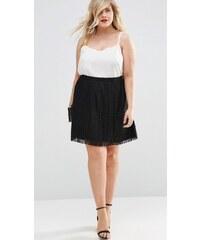 HUSH HUSH Černá plisovaná mini sukně s krajkou