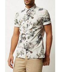 RIVER ISLAND Bílá slim fit košile s floral potiskem