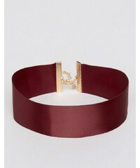 ASOS - Breites, eng anliegendes Halsband aus Satin - Rot