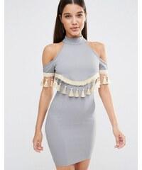 NaaNaa - Figurbetontes, schulterfreies Kleid mit Fransenverzierung - Grau