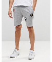 Only & Sons Only and Sons - Jersey-Shorts mit Aufnähern und Kordelzugtaille - Grau
