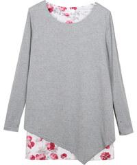 Lesara 2-in-1-Tunika mit Blumen-Muster - Grau - S