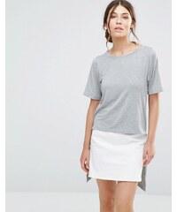 Good Vibes Bad Daze - T-shirt à ourlet asymétrique - Gris