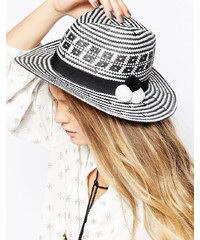 7X - Gewebter Hut mit Bommeln - Weiß
