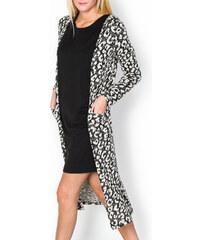 Dlouhý černý svetr s leopardím vzorem velikost: XL, odstíny barev: černá