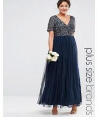 Lovedrobe Luxe Lovedrobe - Luxuriöses Maxi-Tüllkleid mit V-Ausschnitt und farblich passenden, feinen Pailletten - Marineblau