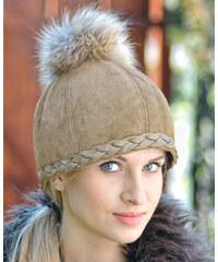 Dámská béžová semišová čepice se střapcem HOPLA FOX (cdZ11fM) odstíny barev: béžová