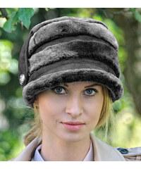 Dámská černá zimní čepice z semišové kůže CRISTI (cdZ5aM) odstíny barev: černá