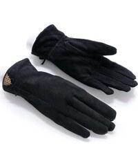 Dámské semišové černé rukavice (r15) odstíny barev: černá