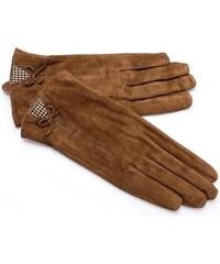 Dámské semišové camel rukavice (r15) odstíny barev: Hnědá