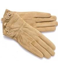 Dámské béžové semišové rukavice FINLAND (r17cL) odstíny barev: béžová