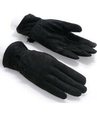 Dámské černé semišové rukavice NORWAY (r18aM) odstíny barev: černá