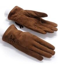 Dámské semišové rukavice NORWAY (r18bM) odstíny barev: hnědá