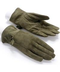 Dámské khaki semišové rukavice NORWAY (r18fM) odstíny barev: zelená