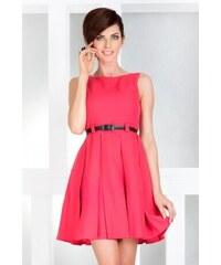 Dámské elegantní společenské šaty bez rukávu s páskem korálové NUMOCO 6-8 74165bb3d57