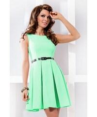 Dámské elegantní společenské šaty bez rukávu s páskem pistáciové NUMOCO 6-10 91277aaa74