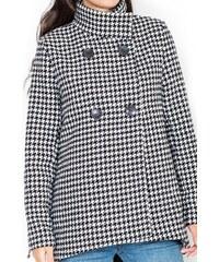 Dámský kabát jaro/podzim KATRUS vzor pepito S černo-bílá