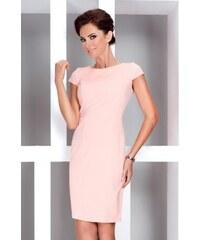 44c80b639d0f Dámské elegantní šaty s krátkým rukávem lososové NUMOCO 37-1