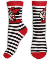 E plus M Dívčí pruhované ponožky Minnie - černo-bílé