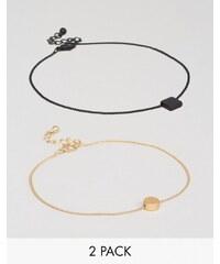 ASOS - Bracelets de cheville géométriques finition mate - Multi