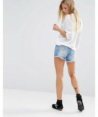 Noisy May - Abgeschnittene Shorts mit bedruckten Taschen - Blau