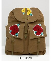 Reclaimed Vintage - Sac à dos avec badges roses - Vert