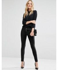 Y.A.S - Penno - Pantalon skinny à fines rayures - Noir