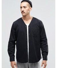 Weekday - Tesla - Chemise en jean à encolure style kimono - Noir - Noir