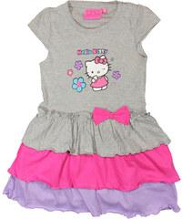 E plus M Dívčí šaty s volánky Hello Kitty - světle šedé