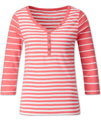 C&A Henley-Shirt aus Bio-Baumwolle in weiß / Orange